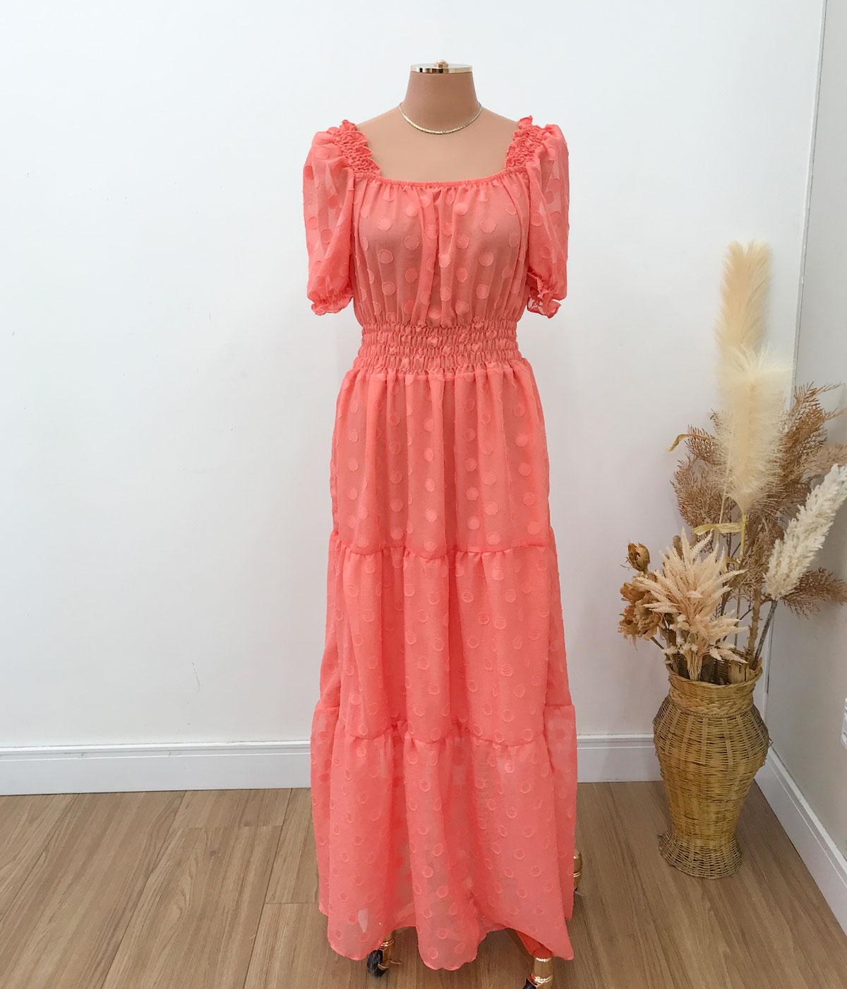 Vestido Longo Chiffon Coral
