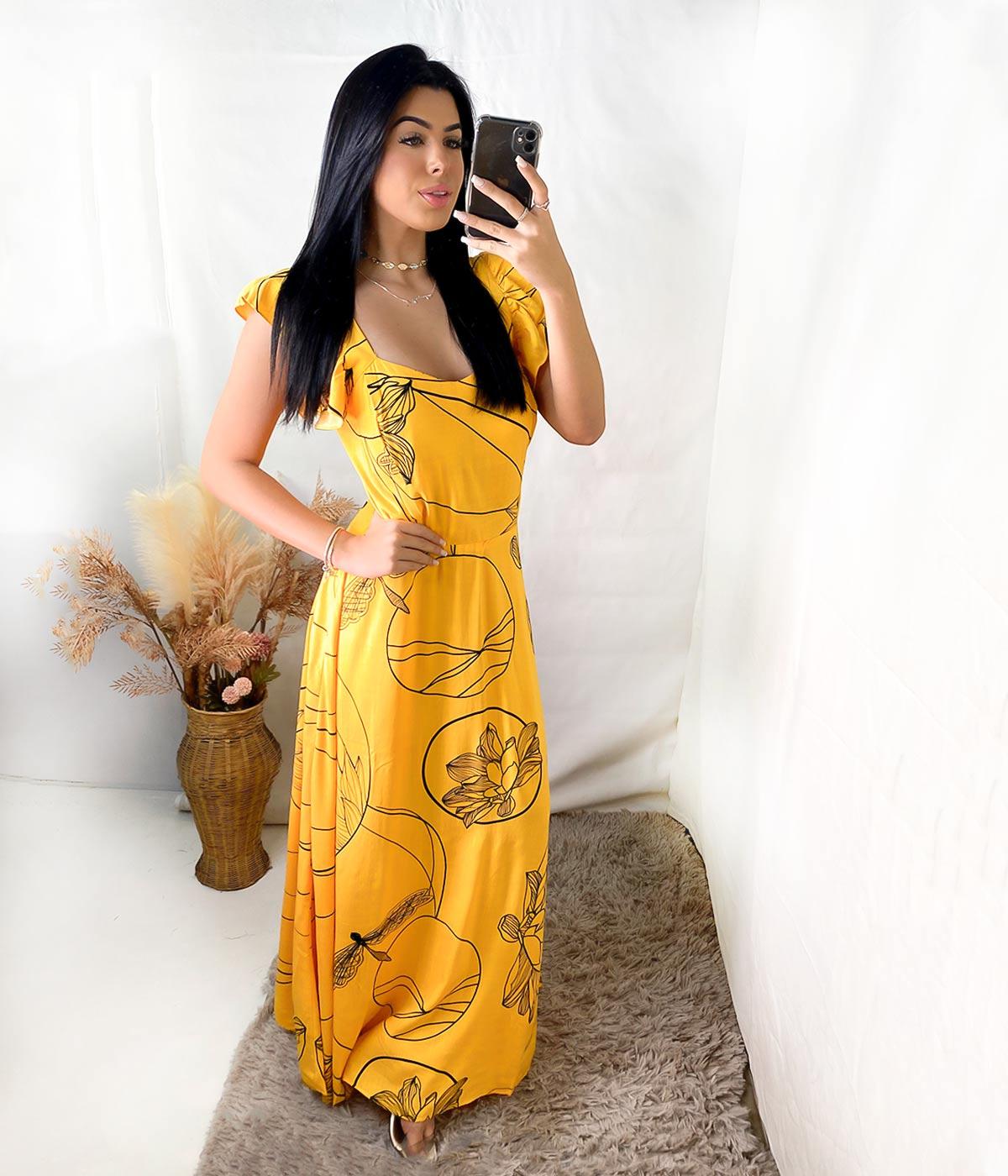 Vestido Longo Daiane Alça Babado Amarelo