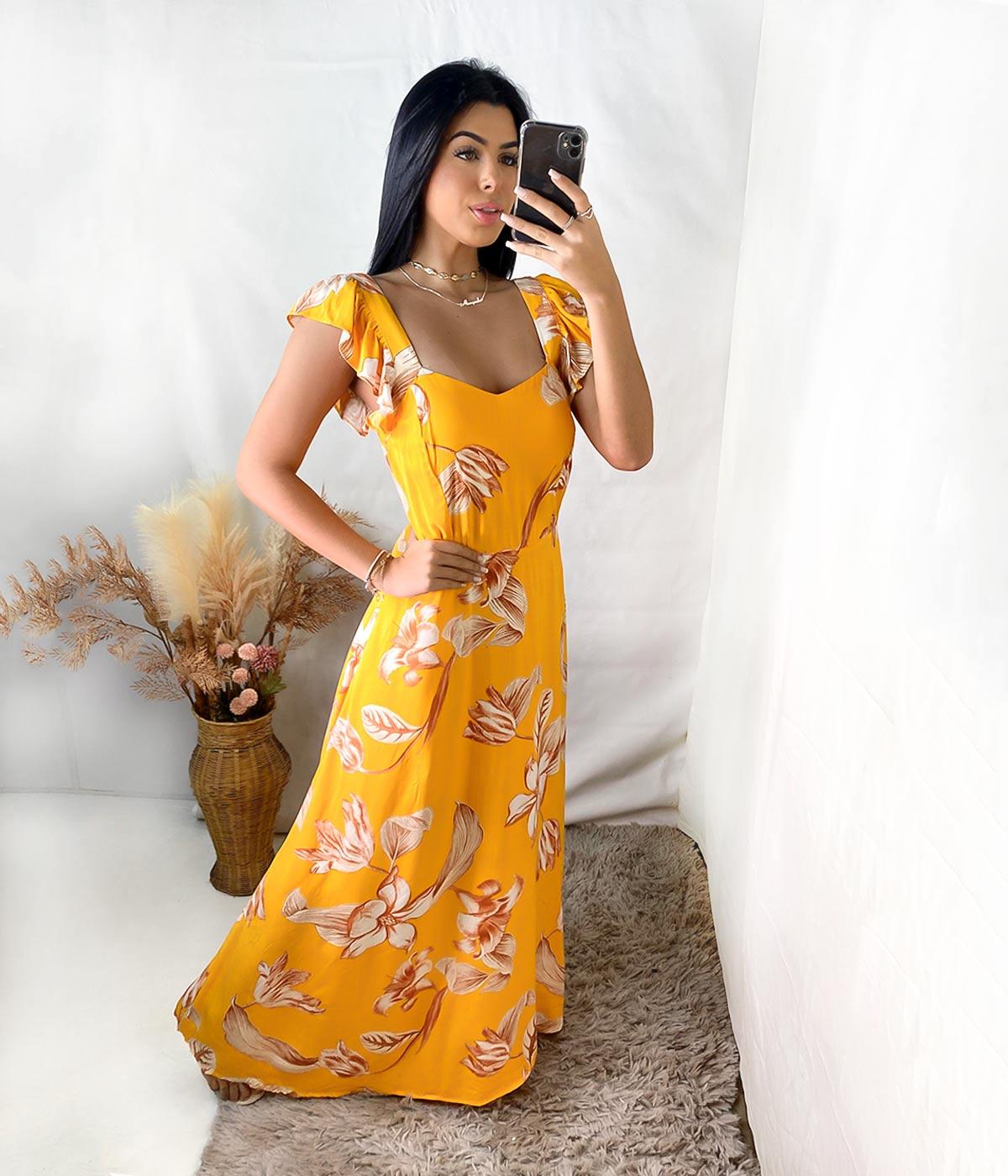 Vestido Longo Daiane Alça Babado Amarelo Escuro