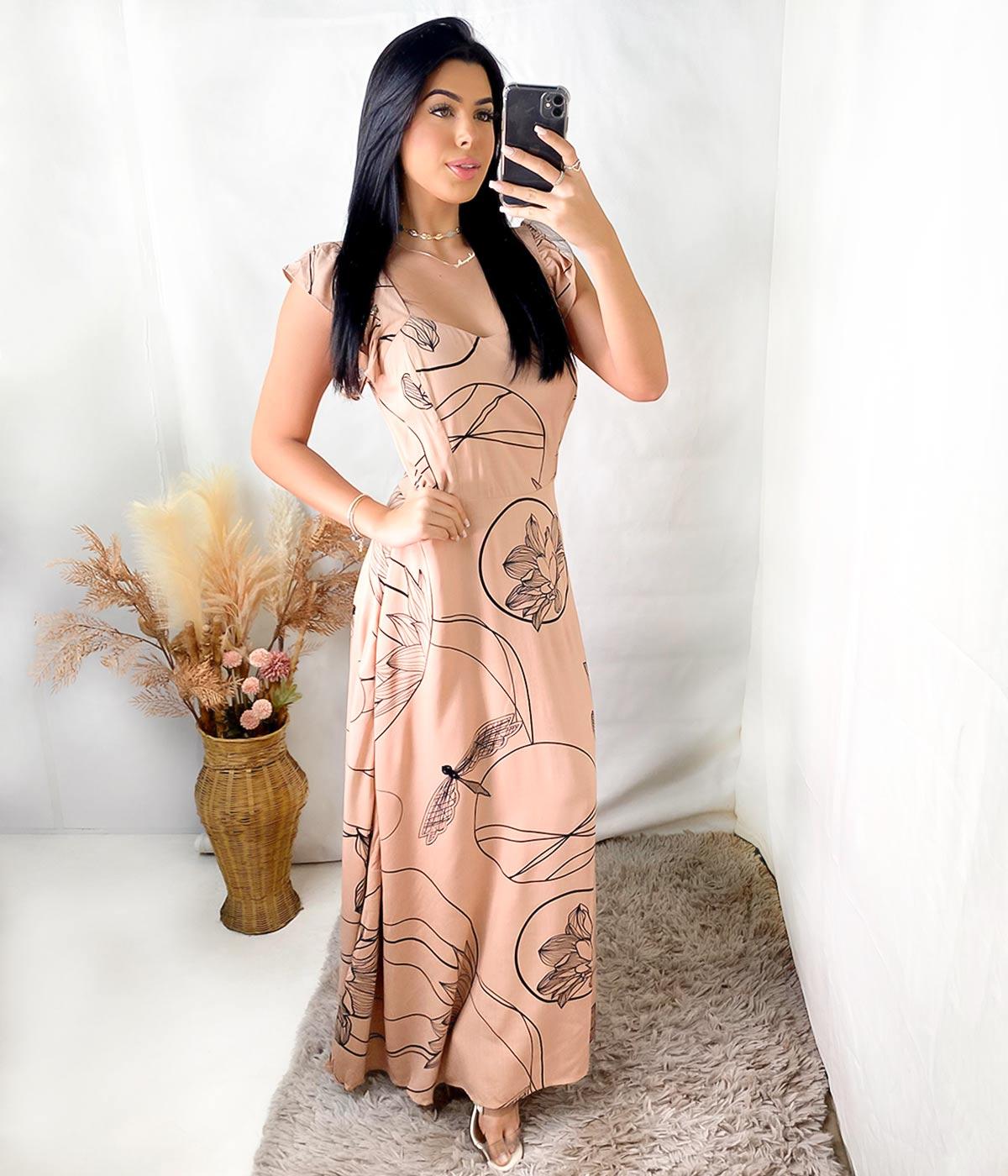 Vestido Longo Daiane Alça Babado Marrom Claro