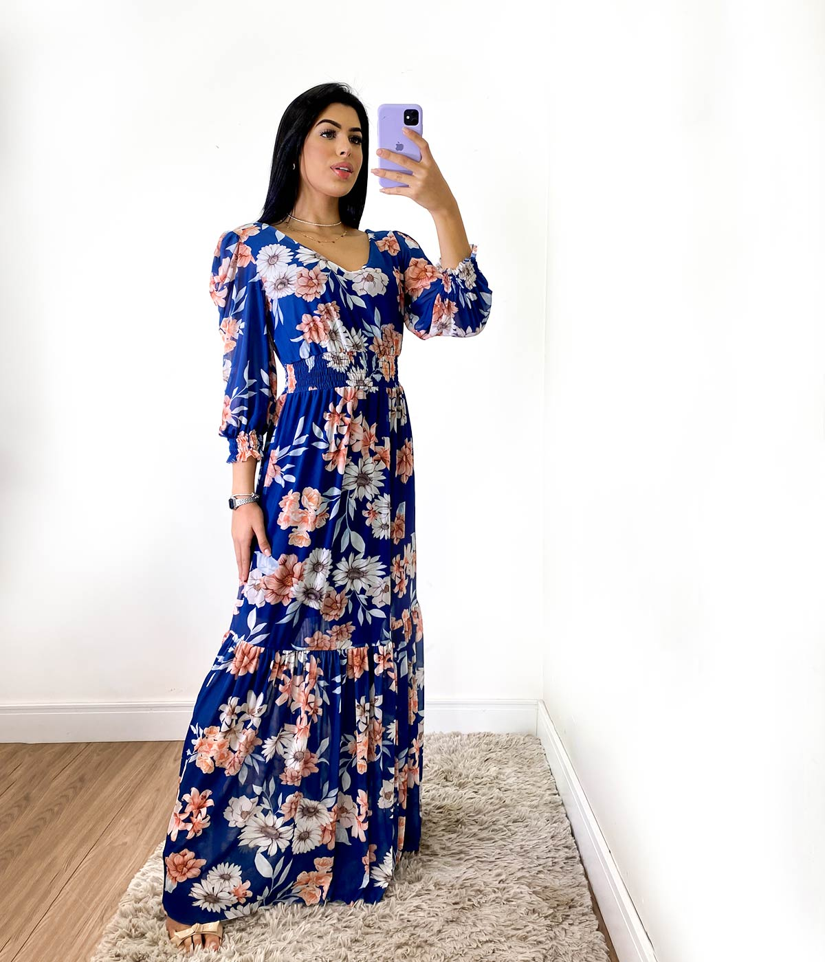 Vestido Longo Flores Azul