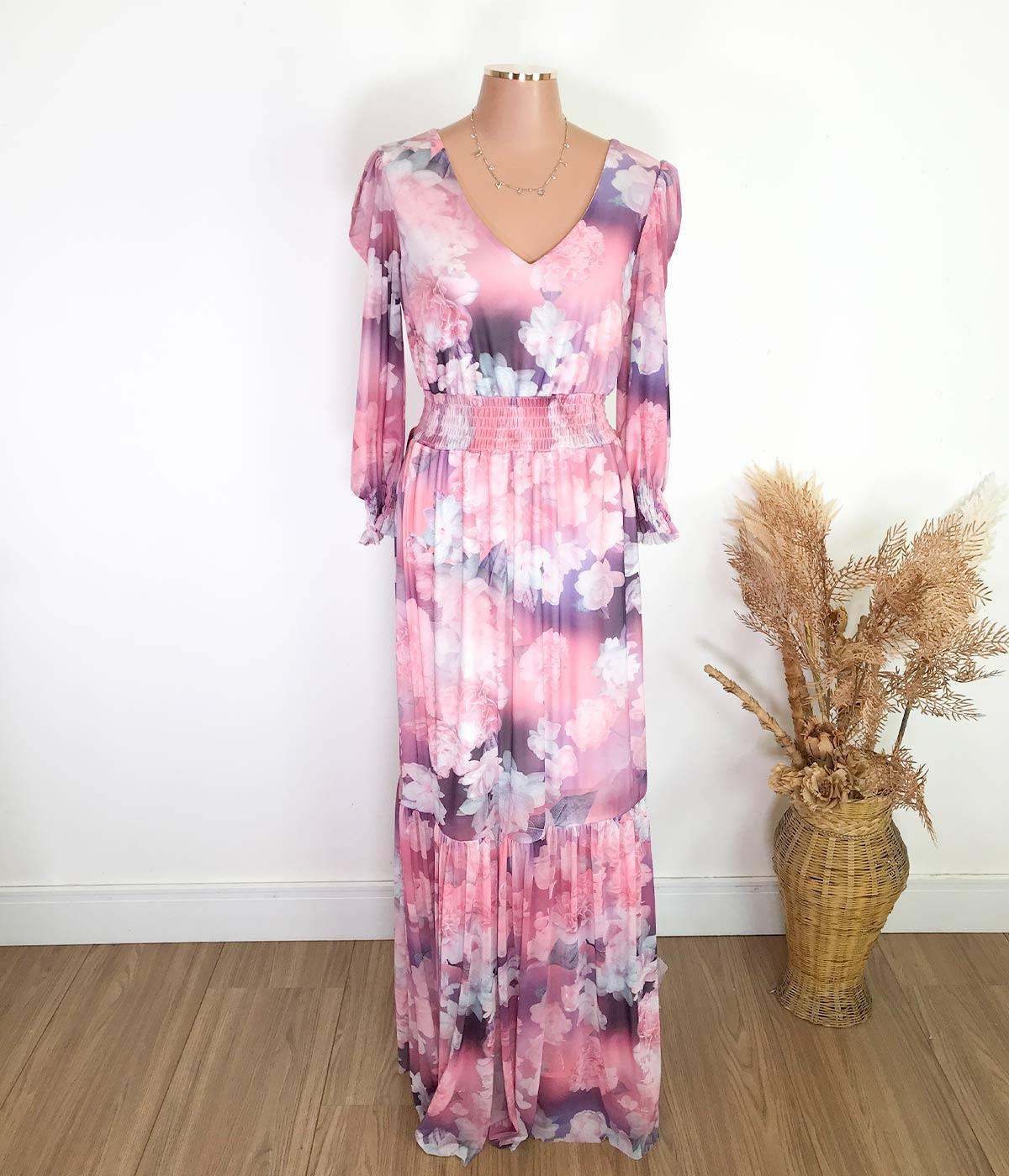 Vestido Longo Flores Rosa