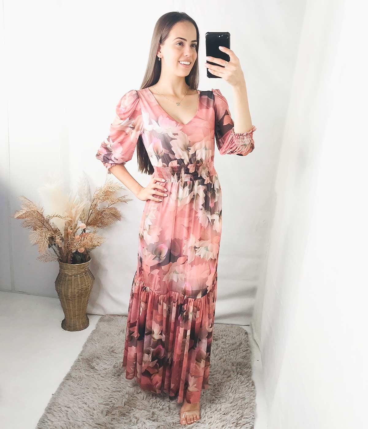 Vestido Longo Flores Rose