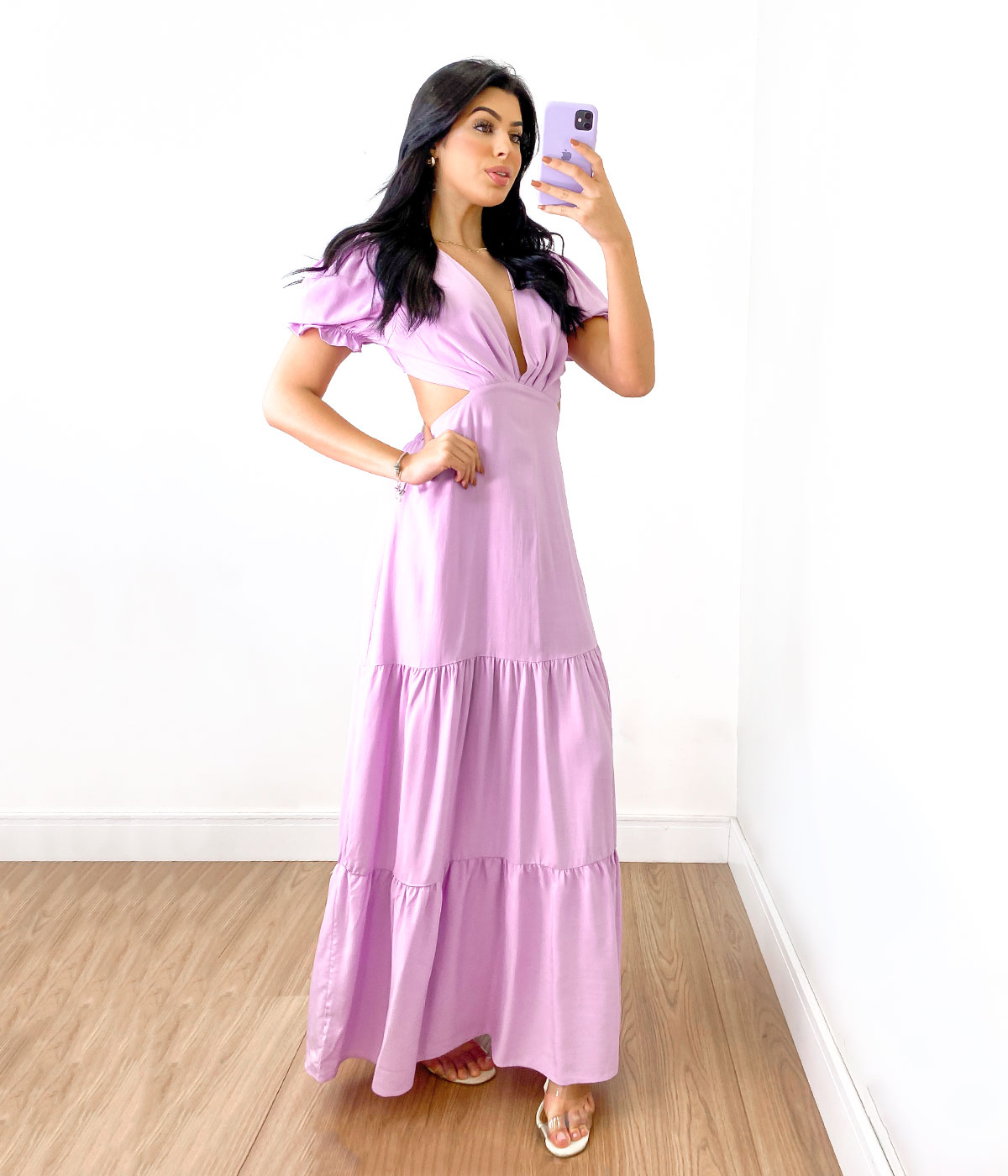 Vestido Longo Gola V Beatriz Lilás