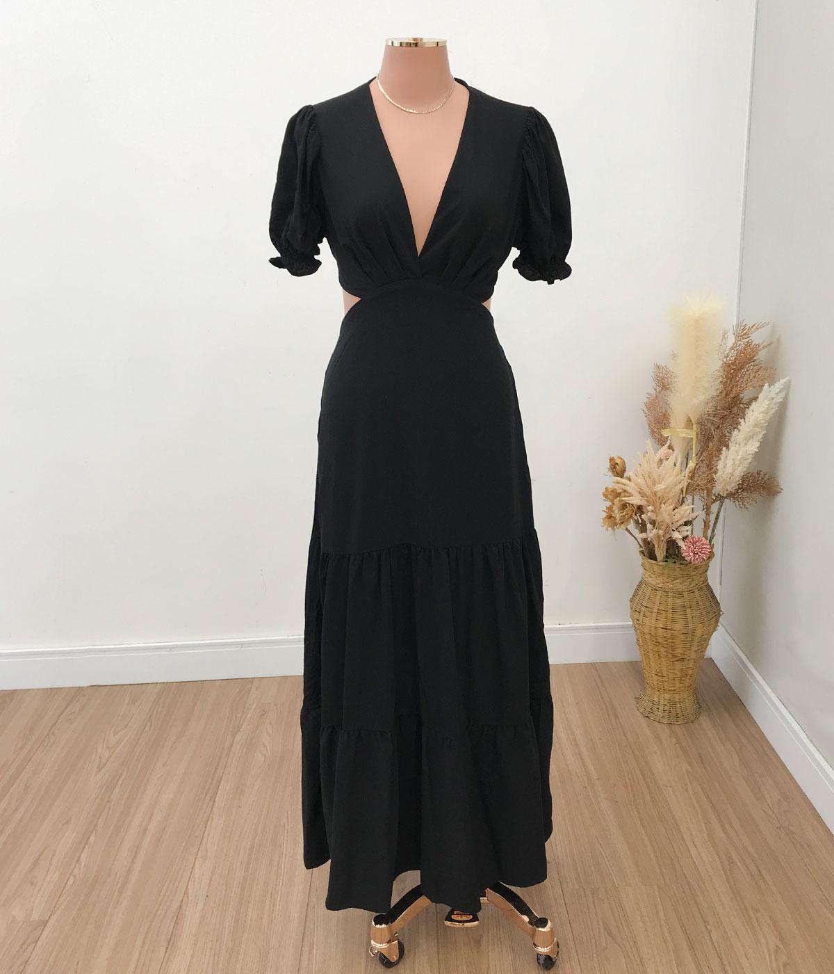 Vestido Longo Gola V Beatriz Preto