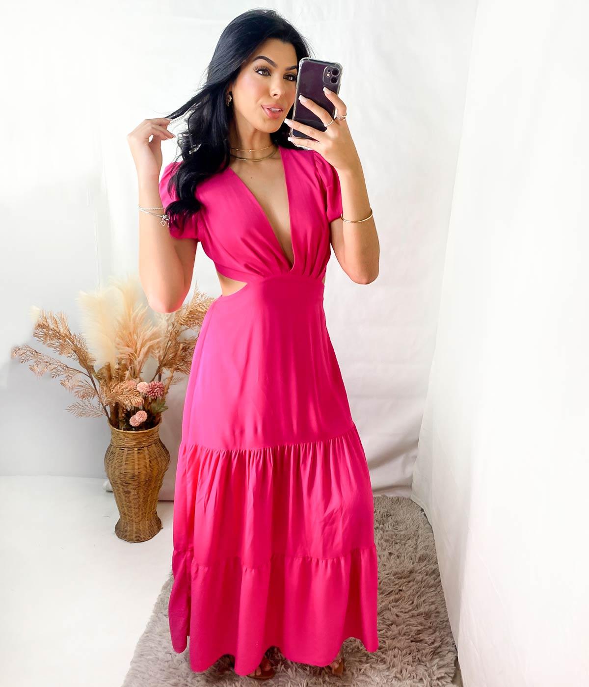 Vestido Longo Gola V Beatriz Rosa Escuro
