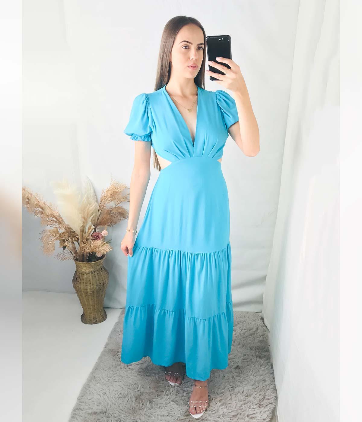 Vestido Longo Gola V Beatriz Verde Água