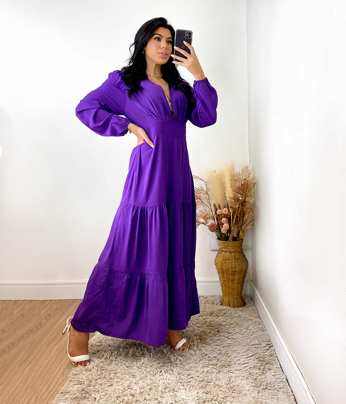 Vestido Longo Gola V Roxo