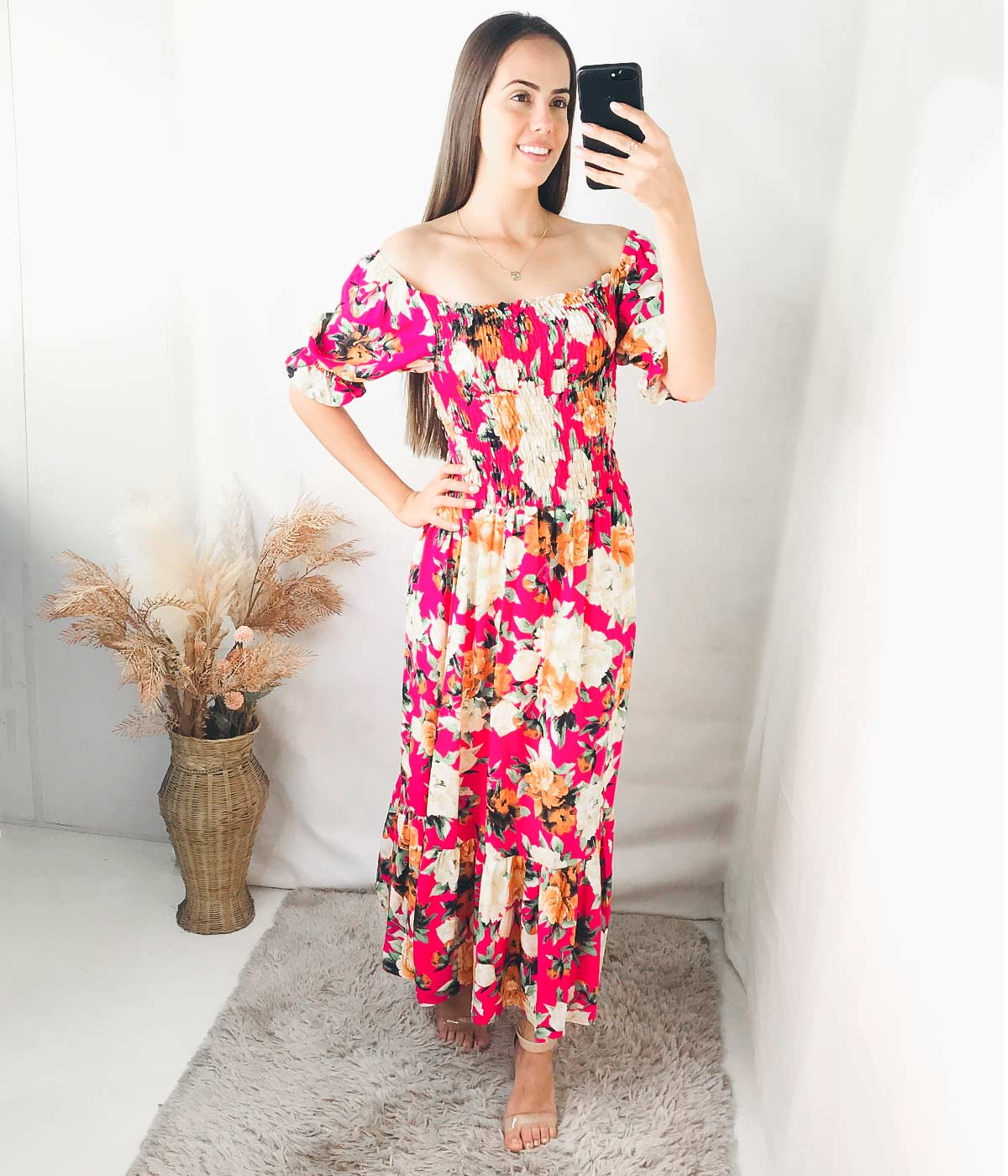 Vestido Longo Lastex Manga Bufante Flores Rosa