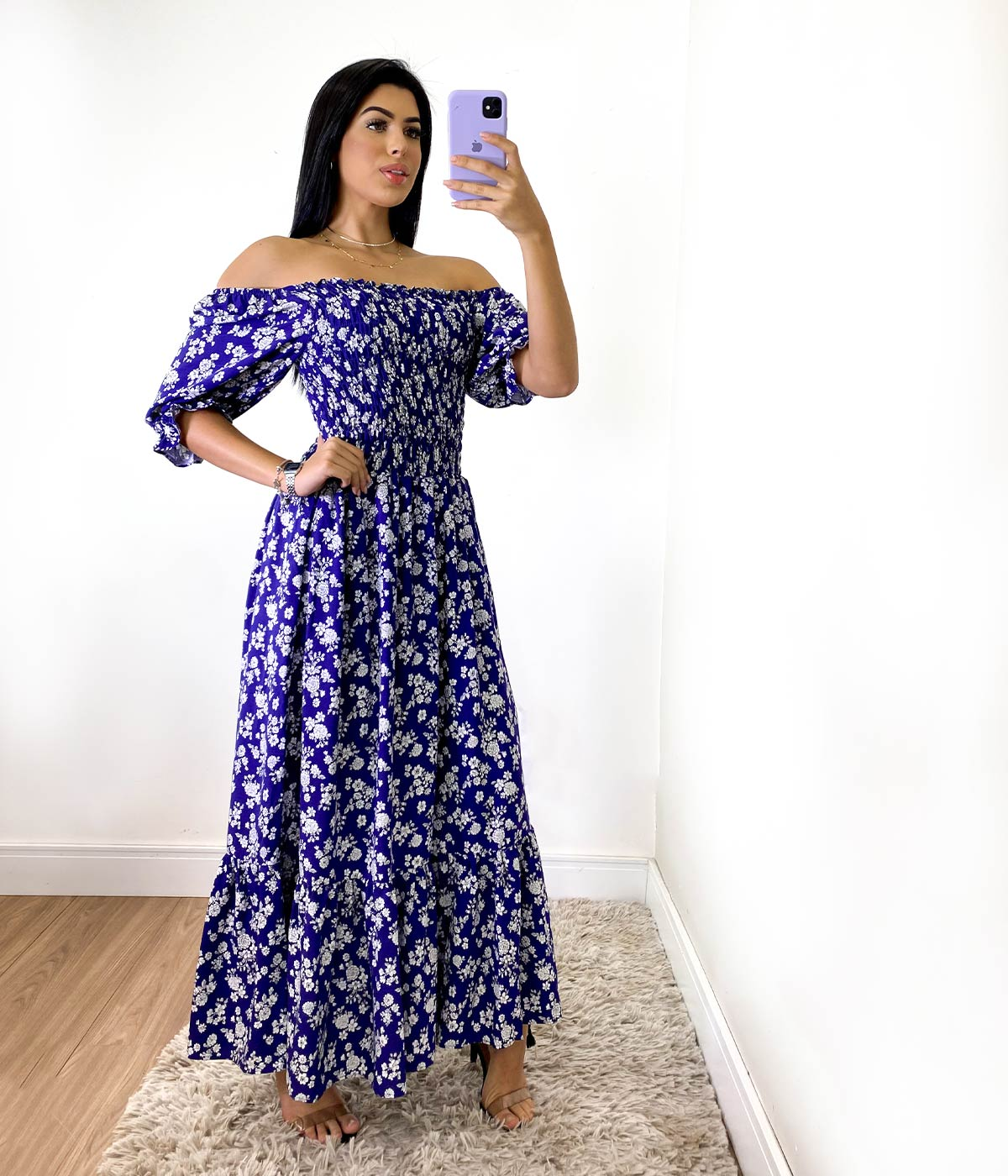 Vestido Longo Lastex Manga Bufante Florido Azul Marinho