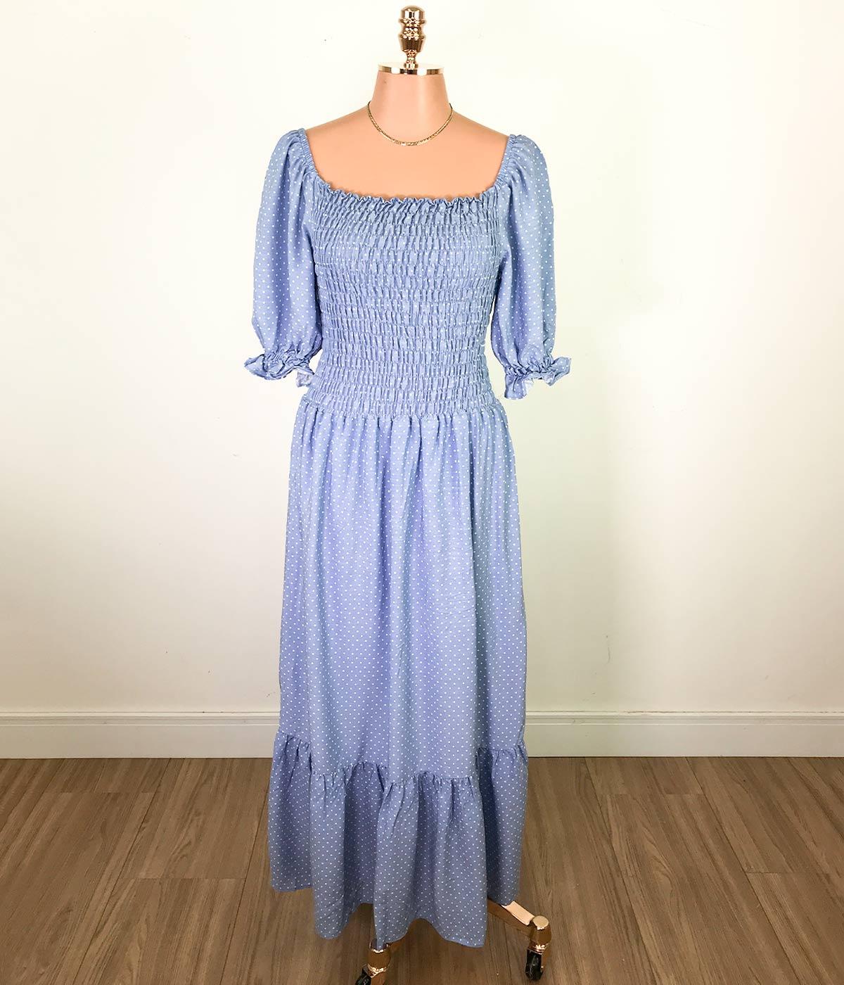 Vestido Longo Lastex Manga Bufante Poá Azul
