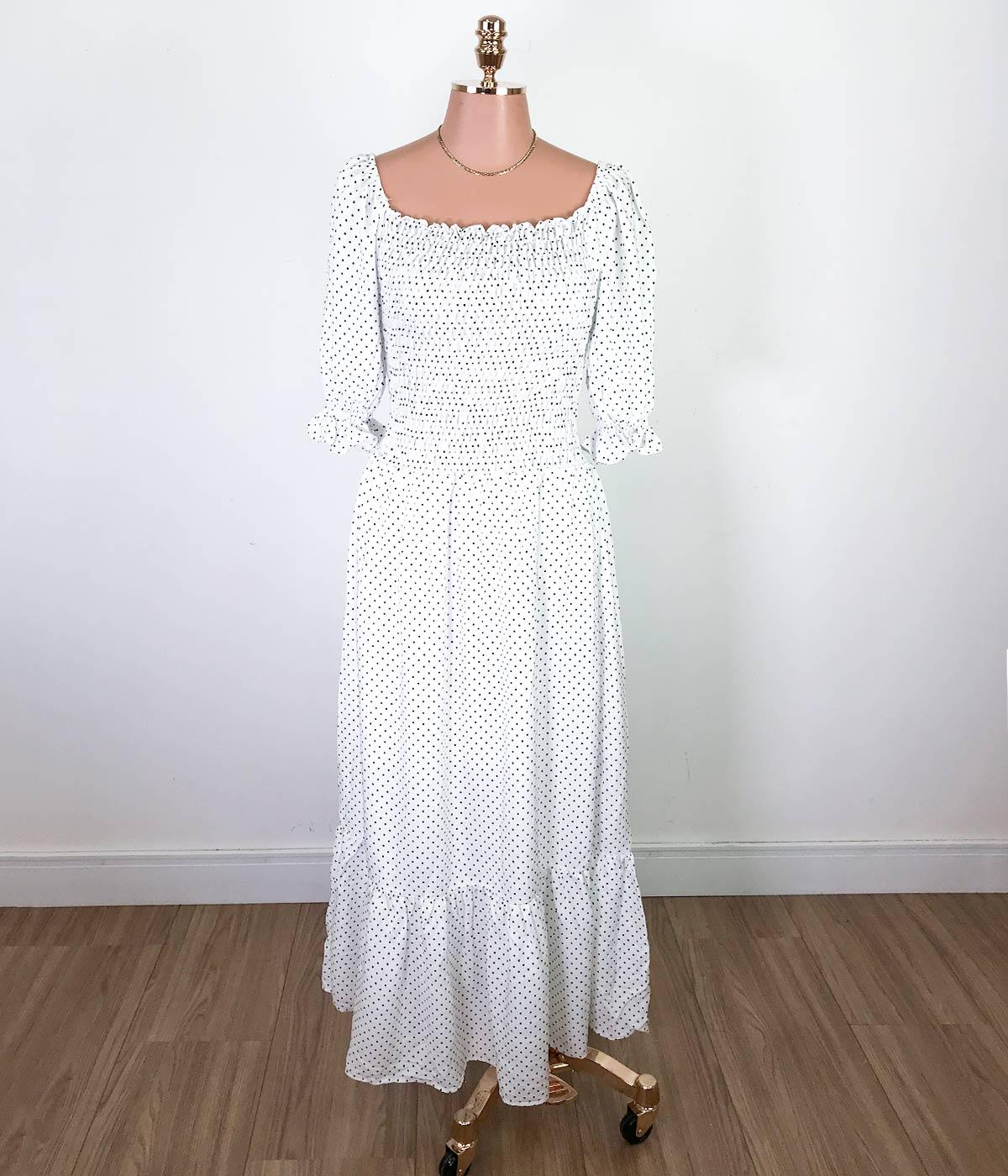 Vestido Longo Lastex Manga Bufante Poá Off White