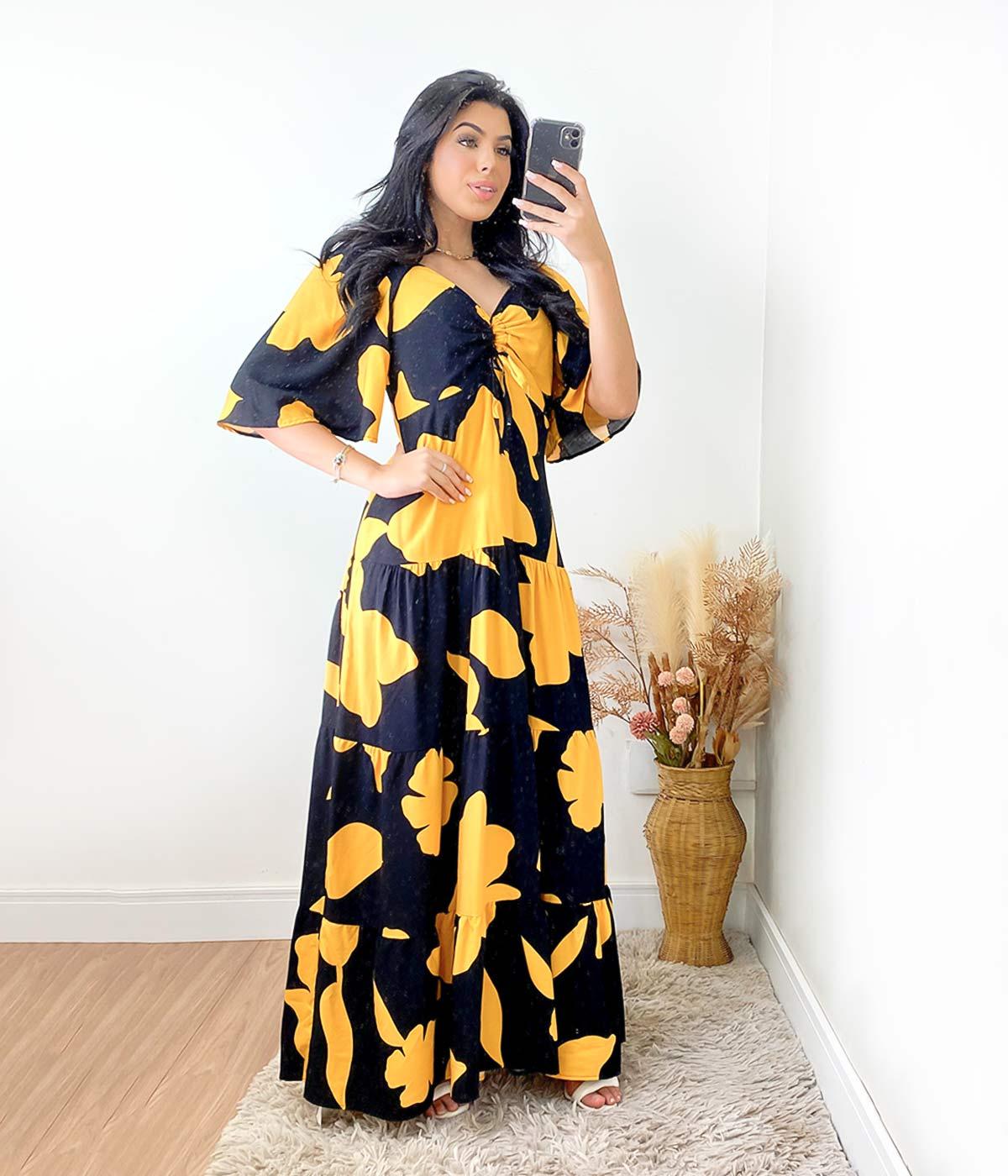 Vestido Longo Renata Estampado Preto/Mostarda