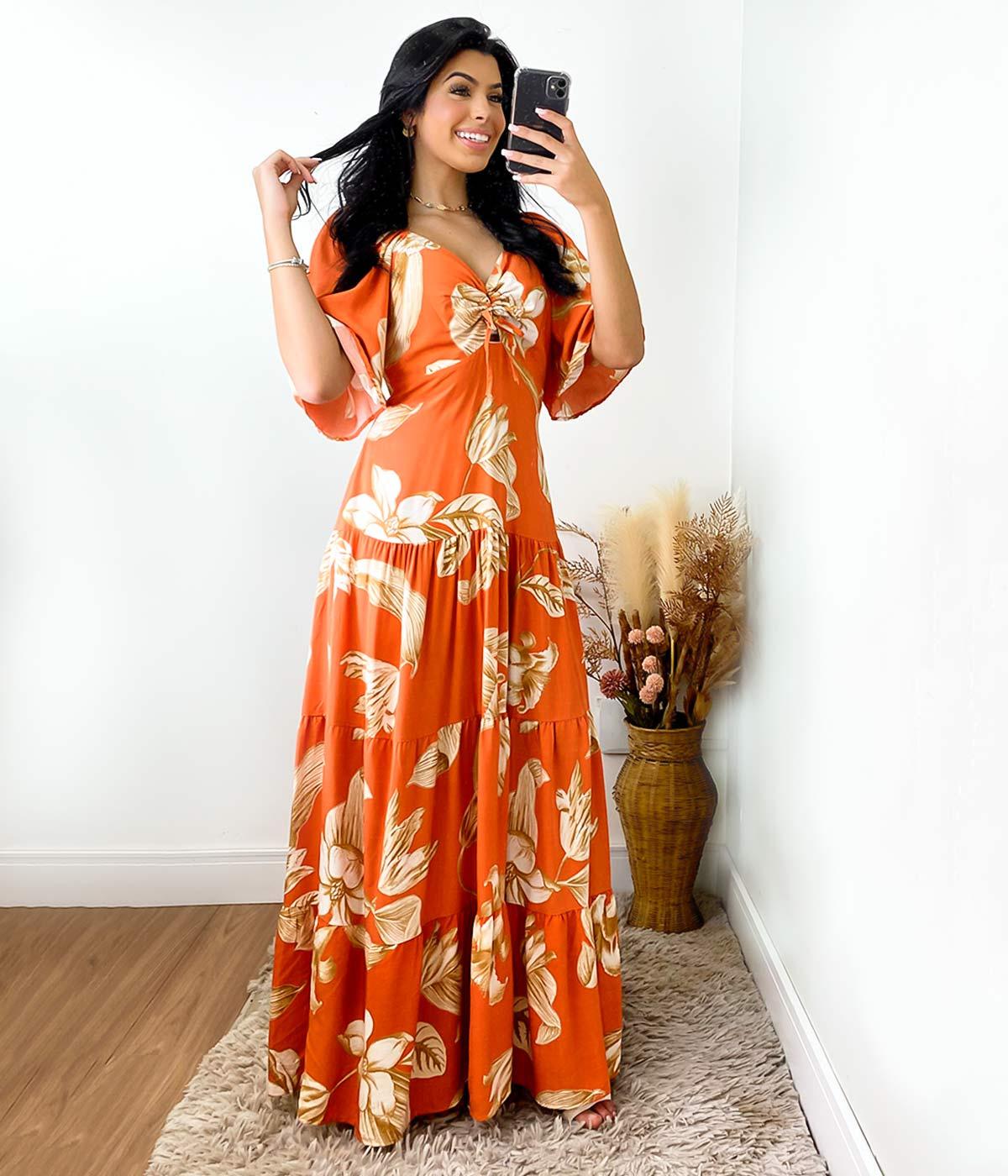 Vestido Longo Renata Flores Laranja