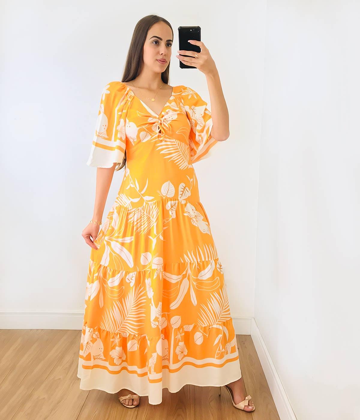 Vestido Longo Renata Flores Laranja Claro