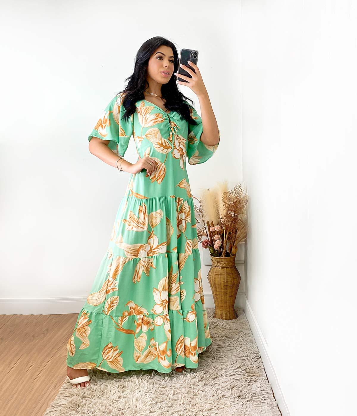 Vestido Longo Renata Flores Verde Menta