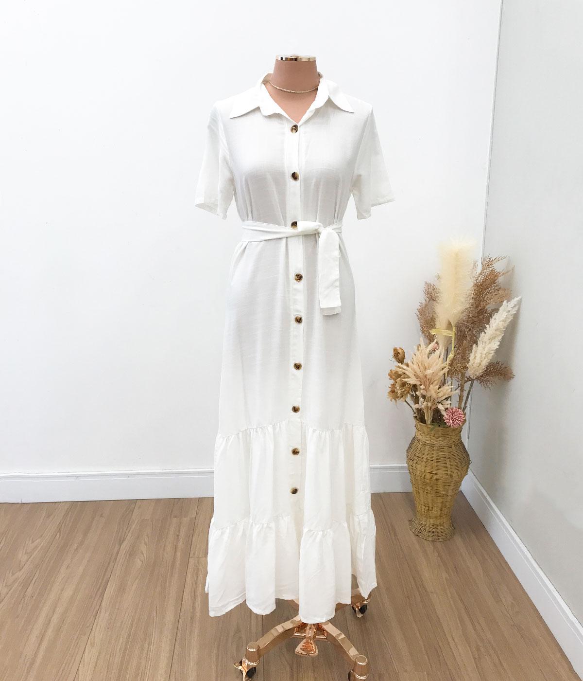 Vestido Midi Viscose Botões Off White