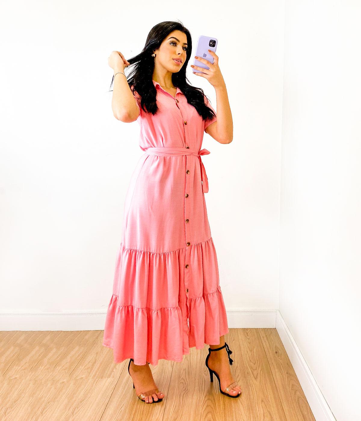Vestido Midi Viscose Botões Rosa Claro