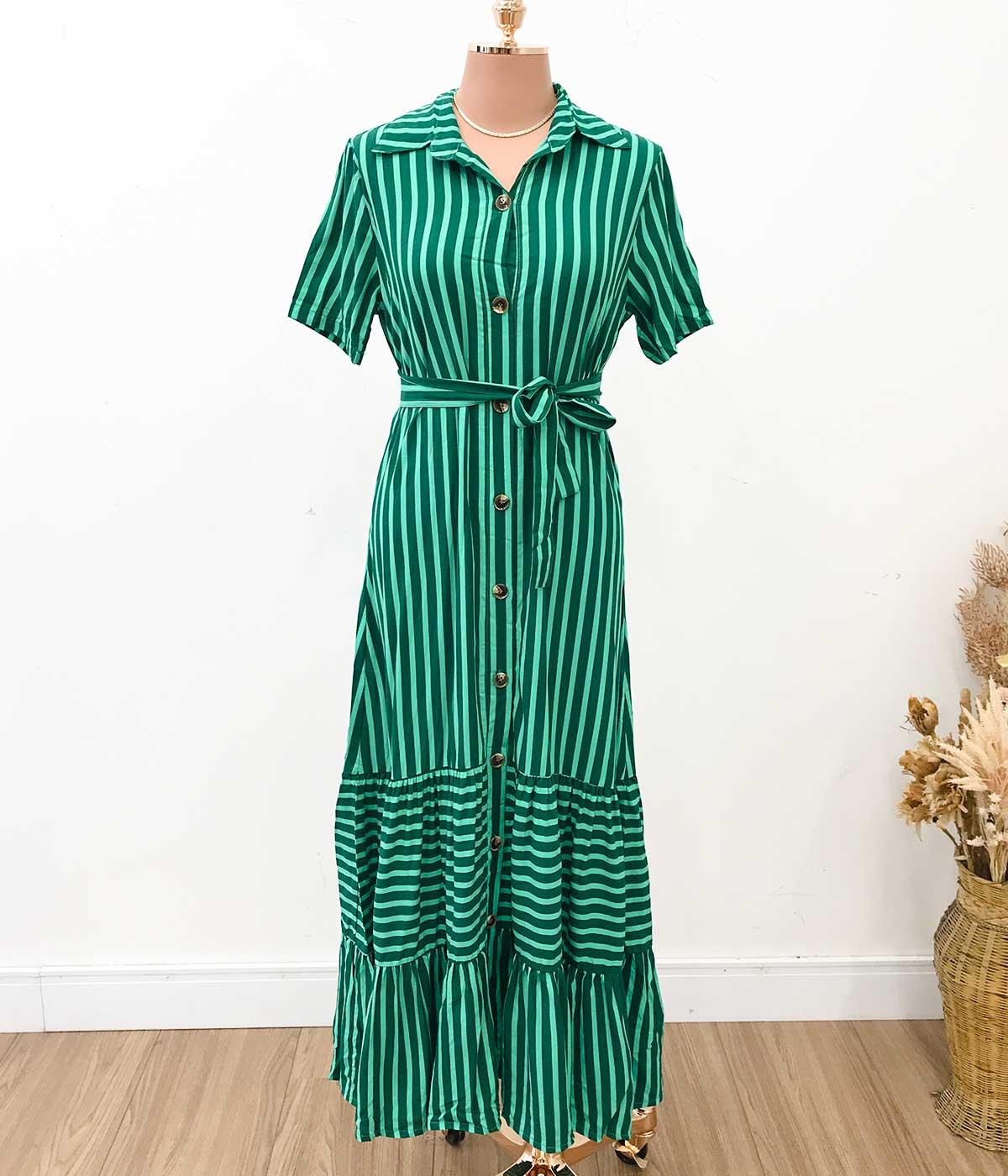 Vestido Midi Viscose Listras Botões Verde