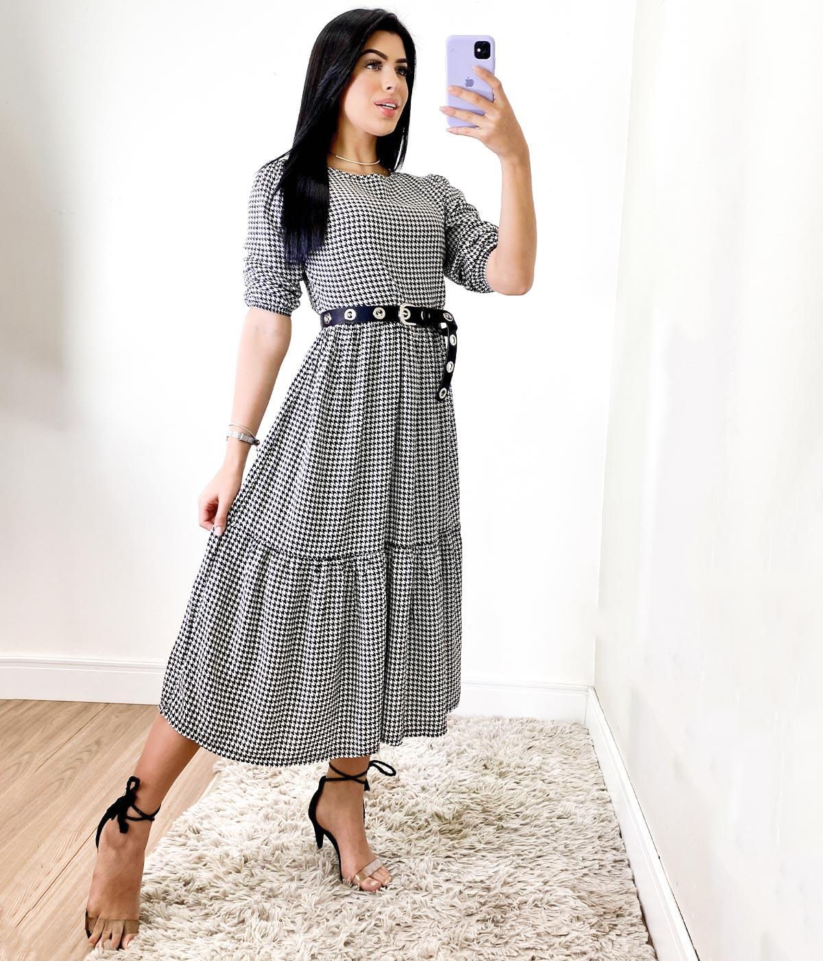 Vestido Tricoline Xadrez