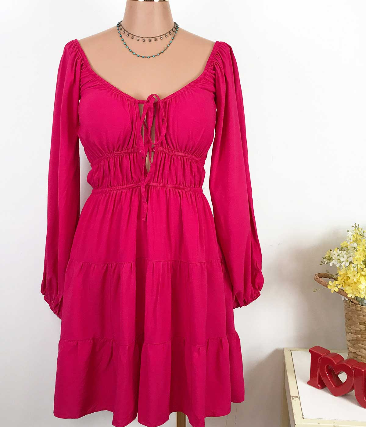 Vestido Viscose Decote Profundo Rosa Pink