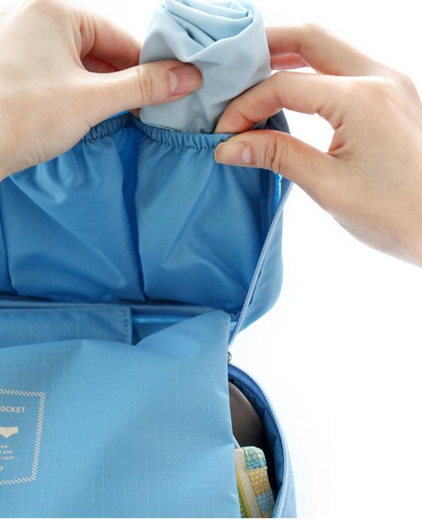 Bolsa Necessaire Unissex Portátil Viagem C/ Divisórias  Azul Claro  - Helô Reis Store