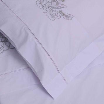 Roupa de Cama 250 fios Português branco/ prata  - Helô Reis Store