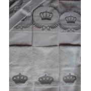 Suíte de Berço Luxo 07 Peças - Coroa Branco/Prata