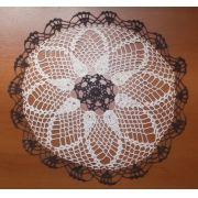 Sousplat Crochet Evolution Bege/Marrom Kit Com 10