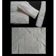 Roupa de Cama e Toalha de Banho Suíte 250 fios Festonê Trigo branco