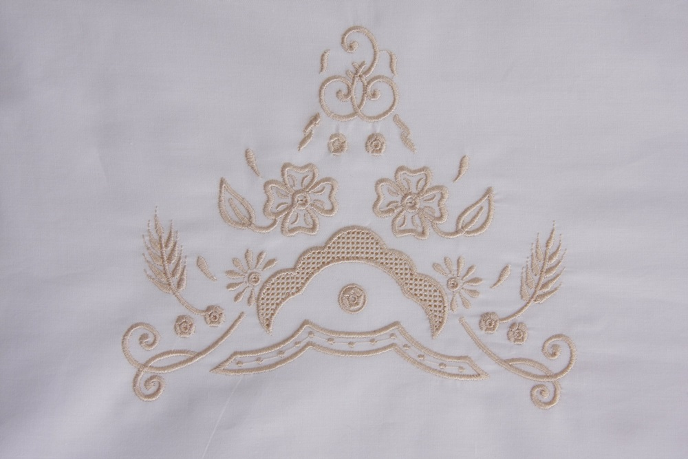 Roupa de Cama 250 fios Richelieu com Crivo Festonê pérola  - Helô Reis Store