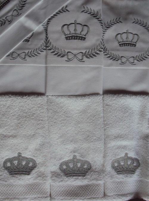 Suíte de Berço Luxo 07 Peças - Coroa Branco/Prata  - Helô Reis Store