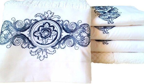Jogo de Banho 5 peças Camões branco/azul  - Helô Reis Store