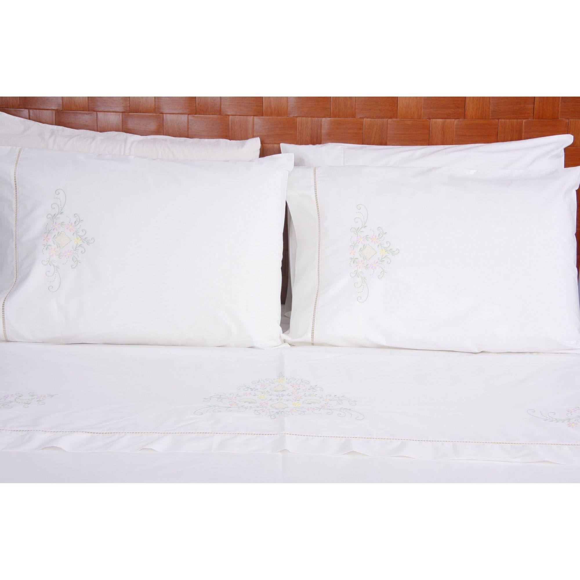 Roupa de Cama 250 fios Crivo branco/ colorido  - Helô Reis Store