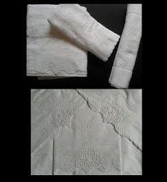 Roupa de Cama e Toalha de Banho Suíte 250 fios Festonê Trigo branco  - Helô Reis Store