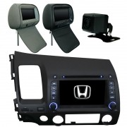 Central Multimidia New Civic 2007 08 09 10 11 Tv  + 1 encosto + Camera Tv Gps Usb Sd BT Espelhamento