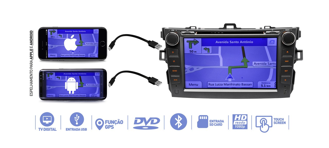 "Central Multimidia Corolla 2008 2009 2010 2011 2012 2013 2014 Tv digital Gps Bluetooth Usb  Sd Card Tela 8""  Camera  Espelhamento Android  e  Iphone  - MARGI PARTS"