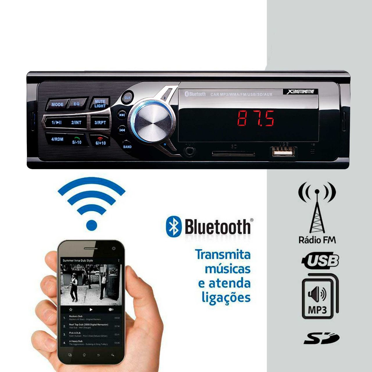 Som Automotivo Rádio Fm Mp3 Bluetooth USB SD 2RCA    - MARGI PARTS