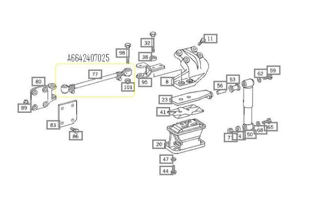 Tirante Estabilizador do Motor Mercedes Benz 0400 RSD  - Onitruck