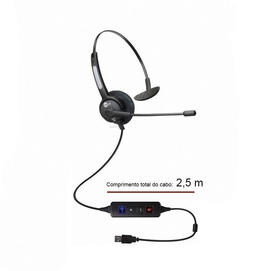 HEADSET MOD HTU 300 USB TUBO FIXO Monoauricular
