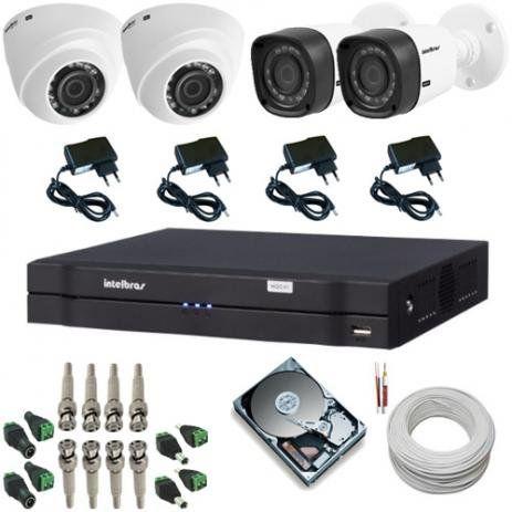 Kit Intelbras CFTV DVR 8 Canais + 2 Câmeras Dome + 2 Câmeras Bullet com HD 2TB + Acessórios