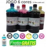 Jg 6x Litros Tinta Plotter Hp HP:10, 20, 30 50, 90, 120, 130, 5000, 5500