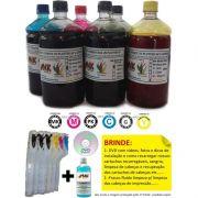 kit Max Combo 6 Cartuchos Recarregaveis + 6 Litros de Tinta p/ Plotters HP T610, T770, T790,T1100, T1200, T1300, T2300 + BRINDE: 100 fluido limpeza + Manual, videos, fotos, dicas....