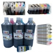 Kit Bulk 6 Cartuchões Recarregáveis 280ml com chip full Plotter Hp72 + 6 Ltrs tinta Premium compativel HP T610, T770, T750, T790,T1100, T1120, T1200, T1300, T2300
