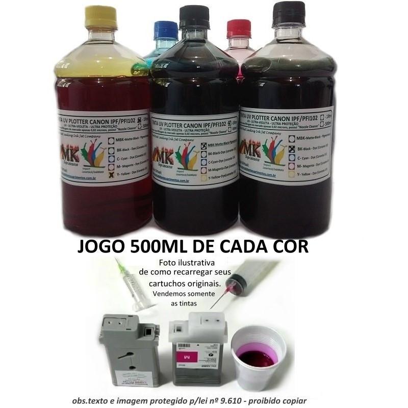 Jogo 5x500ml Tinta Plotters Canon IPF Serie 500, 600, 700, que utilizam cartuchos cod. PFI102 e PF107