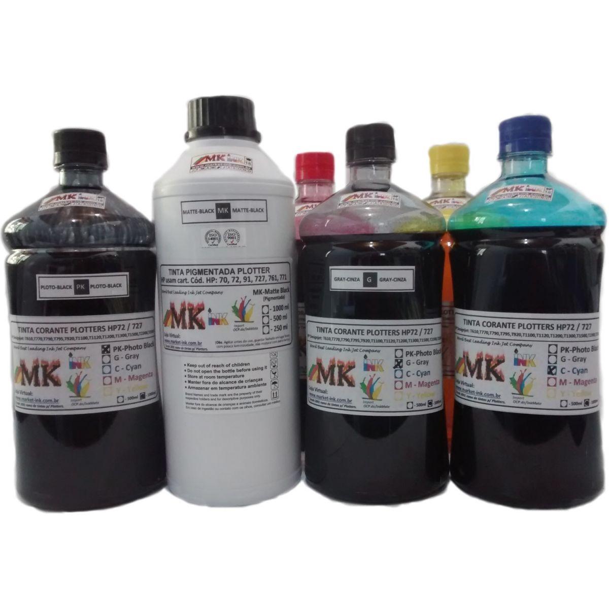 Tinta litro Plotter dos cartuchos HP72, HP727 modelos Plotter HP: T610, T770, T790, T795,T920, T1100, T1120, T1200, T1300, T1500, T2300, T2500