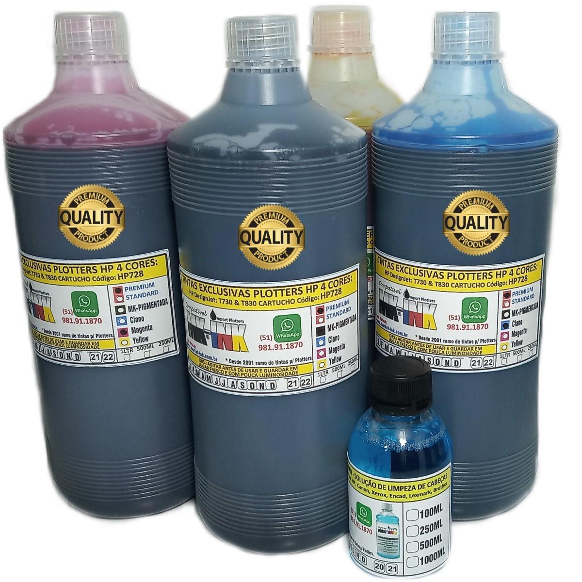 Jogo 4 litros Tinta  Premium exclusiva p/ Plotter T730, T830 dos cartuchos cód. HP728