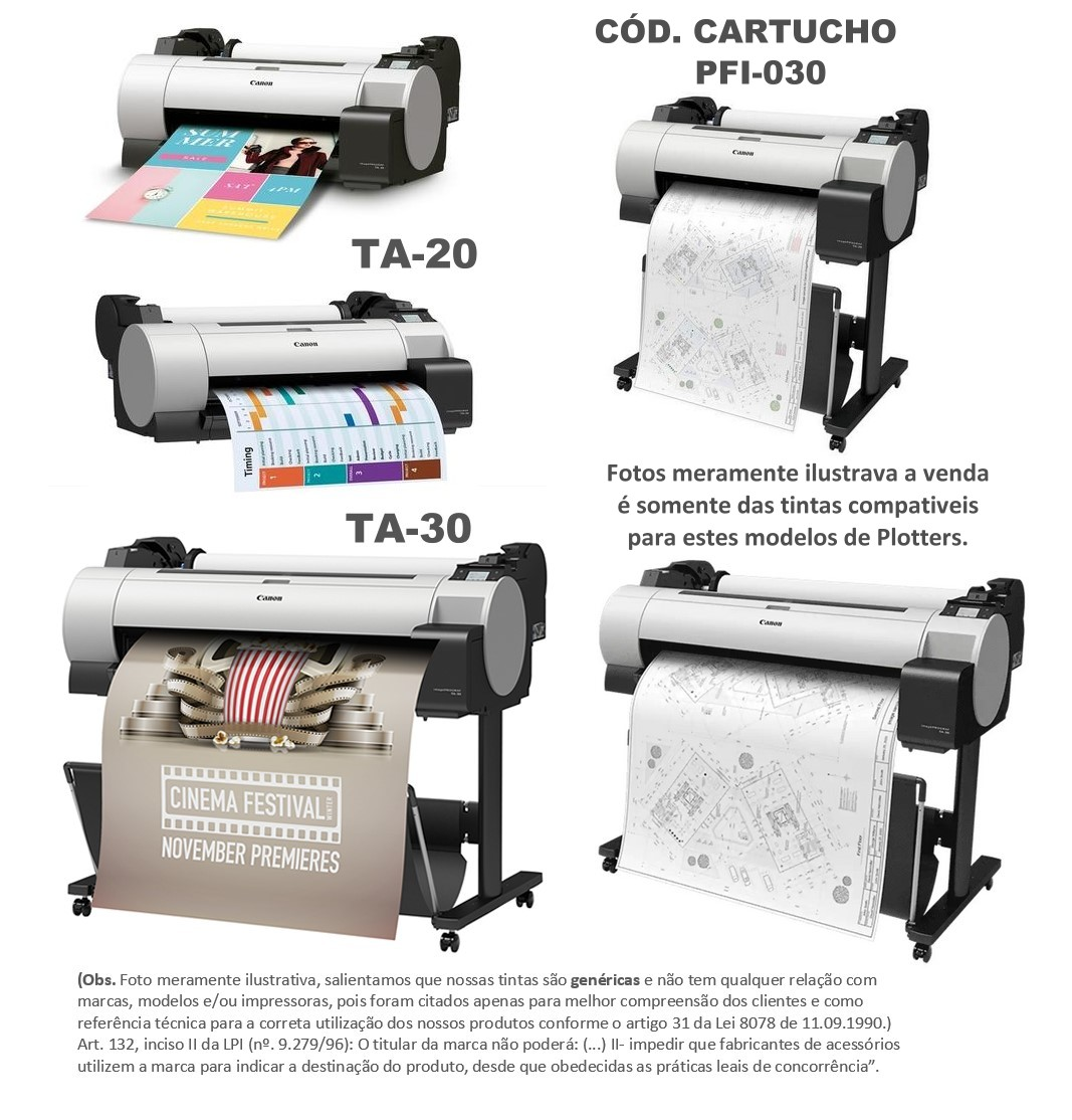 Jogo 5 ltrs Tintas Pigmentada Premium Compatível Plotters Canon Ta-20 Ta-30 que utilizam cartuchos códigos PFI-030