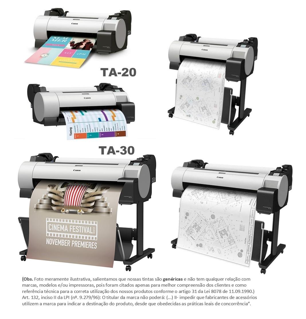 Jogo 5 ltrs Tintas Premium Pigmentada Plotters Canon Ta-20 Ta-30 que utilizam cartuchos códigos PFI-030