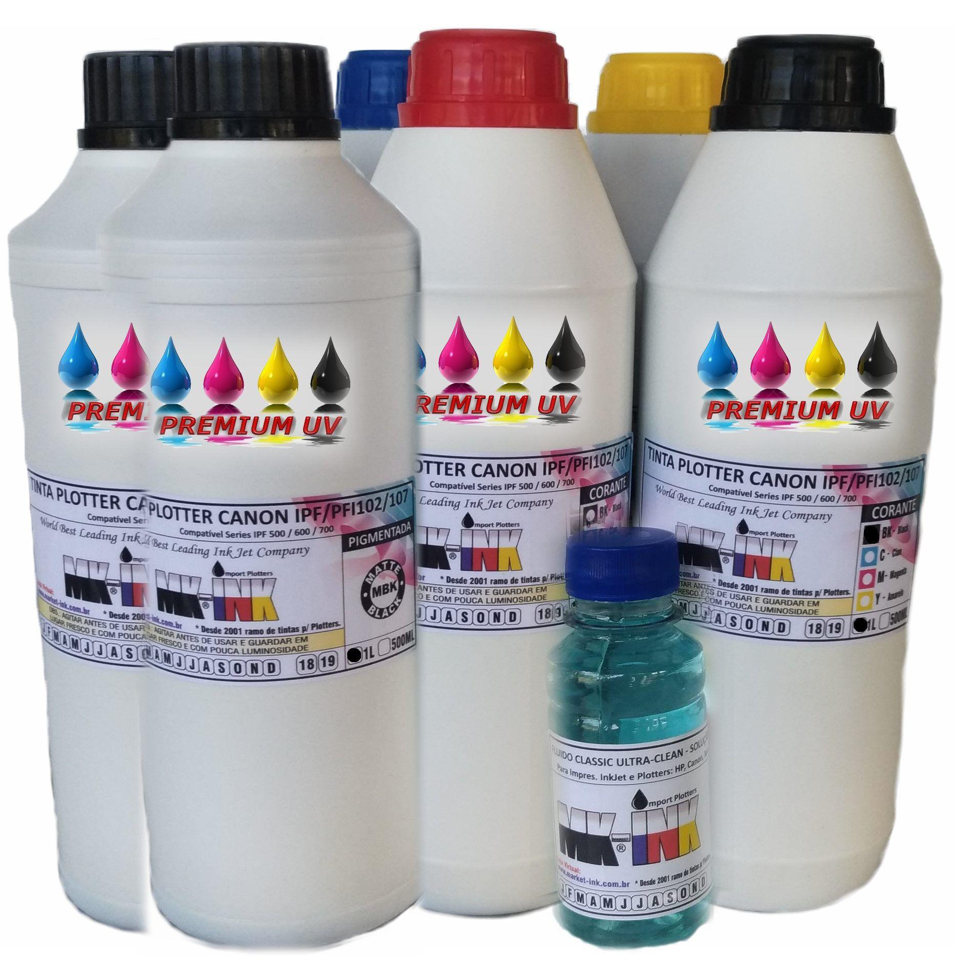 Jogo 5 ou 6 litrs Tinta Premium Plotters Canon IPF Serie 500, 600, 700, que utilizam códigos PFI-102, PF-107, PFI-007